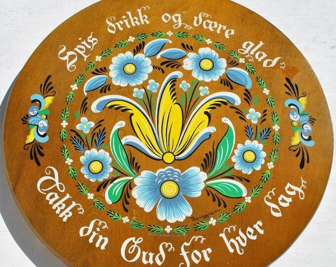 Vintage NorwegianWood Bread Board Rosemaling Berggren Eat Drink and Be Happy 1970's