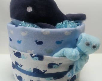 """Whale"" diaper cake"
