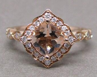 Petite Cushion Cut Morganite Scallped Diamond Engagement Ring 14k Rose Gold Wedding Bridal Ring 6mm