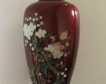 "NEKKA Red Ginbari CLOISONNE Vase 5"" Blossoms Silver Wire JAPAN ExC vintage"