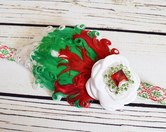 Handcrafted Ombre Christmas 1920s Inspired Feather Headband - Red White and Green Headband - Baby Girl Christmas Headband - Holiday Bows