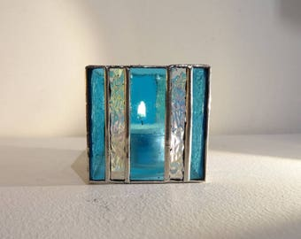 Mini Tiffany stained glass candle holder - blue and transparent glass.