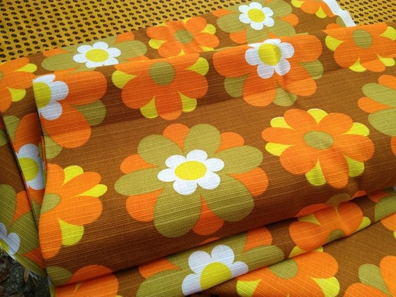 4.9 Yards Mod 60's Floral Orange Fabric Unused French Ribbed Cotton Home Decor Sewing Project NOS #sophieladydeparis