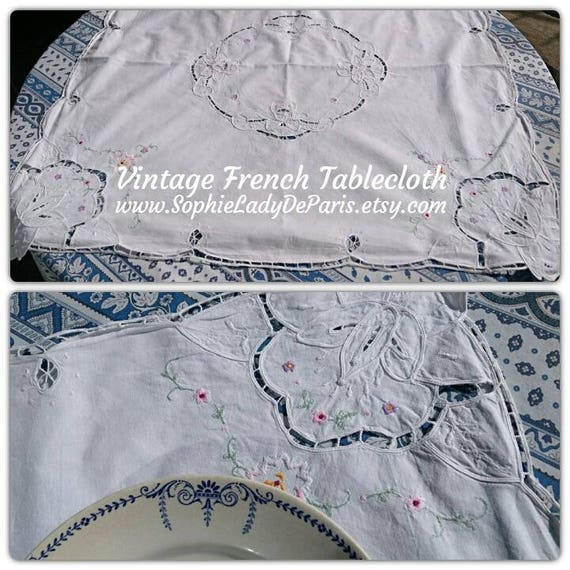 Vintage French Tablecloth White Cotton Floral Cut Work Hand Embroidered Tablecloth #SophieLadyDeParis