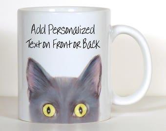 Cat Mug White Kitty Cat Mug Cat Gift Personalized Cat Mug
