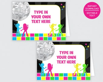 Disco Party Tent Cards, Buffet labels, Buffet Signs, Food Tent Cards, Food Labels, Food Tents, Candy Buffet Signs, Candy Buffet Labels | 325