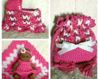 Pink Cradle Purse with African American Berenguer Baby