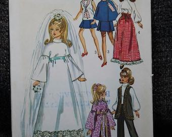 Original Simplicity Vintage 1972 Barbie and Ken Sewing Pattern 9097. (Two versions)