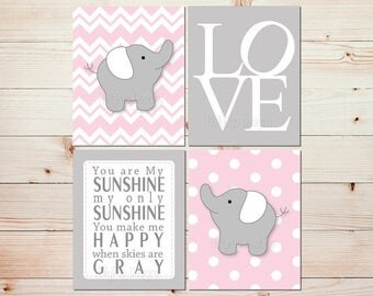 Pink Gray Nursery Art Elephant Nursery Prints Pink Nursery Wall Decor Toddler Girls Room Art You are My Sunshine Wall Decor LOVE print  0721