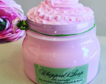 POMEGRANATE- Handmade Soap In A Jar-SPA Uptown-Soap Frosting, Meringue, Fluffy Soap etc. Vegan