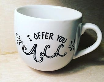 Morning Offering Mug | Hand-Lettered White Porcelain 16.5oz, Christian, Catholic