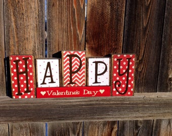 Happy Valentine's Day wood blocks-Valentine decor, Holiday blocks, heart blocks