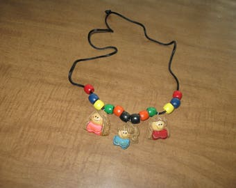 Black Cord With 12 Wood Beads And 3 Girl Heads That Can Be Monogrammed