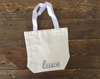 Love - Canvas Tote Bag, 8 x 2.5 x 8, Natural