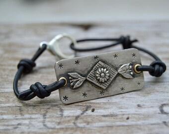 Sterling Diamond Flower Bracelet . Leather .  Handmade  . Rustic . Earthy . Boho . Hand Stamped .  Bracelet