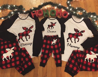 Personalized with name - Christmas family matching buffalo plaid moose holiday pajamas flannel long sleeve adult kids toddler and baby sizes