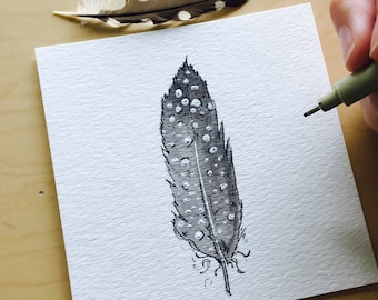 Spotted Fluffy Feather 4x4 Watercolor Pencil Ink and Charcoal Drawing by WoodlandMeadows