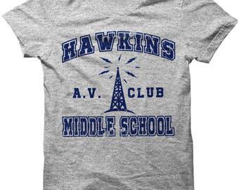 Stranger Things Shirt T-Shirt Hawkins Middle School AV Club Costume Apparel