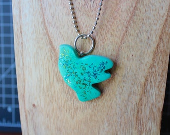 Green Glitter Polymer Clay Dove Necklace