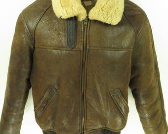 Vintage 80s Schott B-6 Sheepskin Bomber Jacket Mens 48 USA Made Shearling Flight [G94J_5-8_Fur]