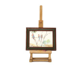 Miniature Framed Watercolor Painting, Framed Parrot Watercolor on Easel, Framed Parrot Watercolor, Small Painting & Easel, Original Painting
