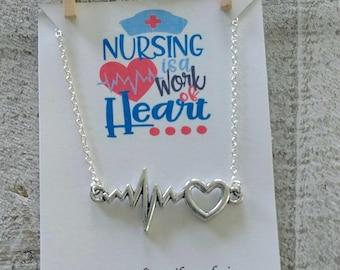 Nurse Necklace - Nursing is a work of heart - Heartbeat Necklace - Nursing -  Heart beat jewelry - silver