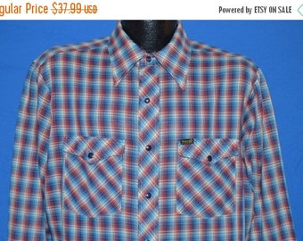ON SALE 80s Wrangler Red Blue White Plaid Pearl Snap Shirt Large