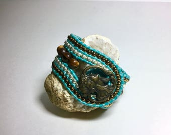 Turquoise and Tiger Eye Beaded Leather Cuff