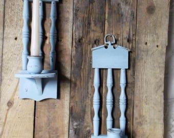 pair of vintage wood candle sconces blue candle sconces