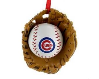 FREE SHIPPING Personalized Cubs Baseball Glove Christmas Ornament / Cubs Baseball Mitt Ornament / Baseball Glove ornament/ Chicago Cubs
