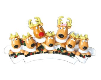7 Reindeer with Scarves Family / Personalized Christmas Ornament / Large Family / Family of 7 / Hand Personalized
