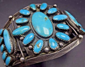 Heavy 76g Vintage NAVAJO Sterling Silver & TURQUOISE Cluster Cuff BRACELET