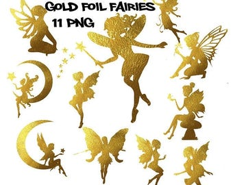 Fairy clipart, gold foil fairies clipart, gold foil fairytale clipart, commercial use, magic wand, scrapbooking clipart, fairy tale clip art
