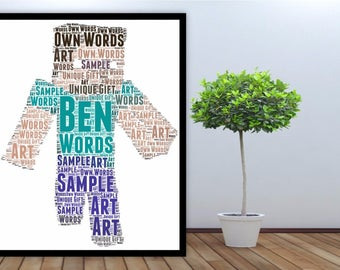 Personalised Word Art Gift Framed Print You Tube Minecraft Birthday Gift For Him Boys Gift Christmas