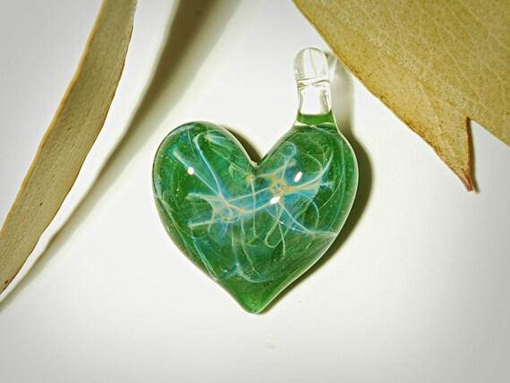Glass Jewelry - Glass Heart Pendant - Moss Green Heart - Love - Universe - Rare Heady Glass - Magic Wicca Bead - Glass Art - Free Shipping!