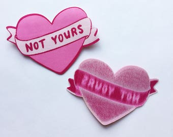 Not yours Pink vowen patch - Lovestruck Prints - feminist patch - pink patch