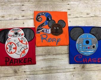 Star Wars Mickey Ears Shirts/ Star Wars Birthday Shirts/ R2D2 Mickey Ears Shirt/ BB8 Birthday Shirt/ Disney Dining Shirt/ FAST SHIPPING