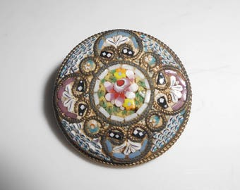 Micro Mosaic Brooch Pin Antique Victorian Made In Italy Floral Flowers