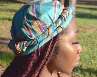 Blue Madras Head Wrap / Turban / Scarf