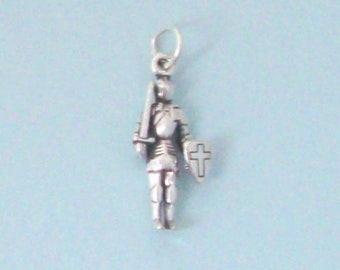 Sterling Silver Knight Charm, Knight in Shining Armor, Made in USA