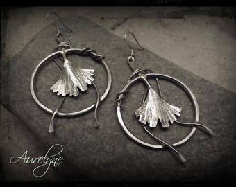 Earrings stainless Monshō Ginkgo leaves of ginkgo biloba fairy elfic inspiration asiatique onirique