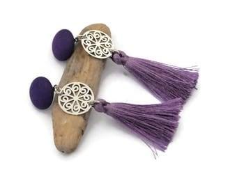 Tassel earrings, Clip tassel earrings, Violet earrings, Boho chic earrings, Fringe earrings, Clip on earrings, Boho earrings, For her, UD2