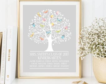 Personalized Teachers Gift, Kids name, Tree with Butterflies, Appreciation Print, End of Year Teachers Gift sign, Kid's Names, School Year