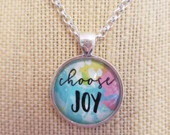Choose Joy...Painted Quote Necklaces, Inspirational Charms Jewelry , Yoga Inspired, Be Positive, My Tribe