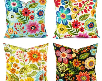 OUTDOOR Pillow Cover - Floral Pillow Cover - Bright Pillow - Toss Pillow - Accent Pillow - Custom Throw Pillow - 16 x 16 Inch 18 x 18 Inch