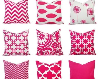 15% OFF SALE One Decorative Pillow Cover - Bright Pink and White Pillow - 20 x 20 inch - 16 x 16 Inch - Hot Pink Pillow - Chevron Pillow Cov
