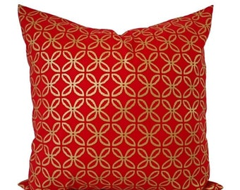 15% OFF SALE Two Red Pillow Covers - Metallic Gold Pillow Sham - Decorative Pillow - Red Geometric Pillow - Holiday Pillow Cover - Christmas