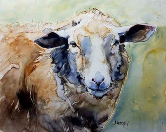 Sheep Painting, Sheep Art, Sheep Portrait, Lamb Painting, Farm Animals, Animal Portraits