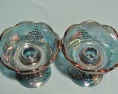 Vintage Iridescent Candle Holders Carnival Glass Harvest Grape by Indiana Glass Blue Green Teal