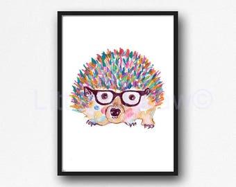 Hedgehog Watercolor Print Woodland Animal Wall Art Rainbow Hedgehog